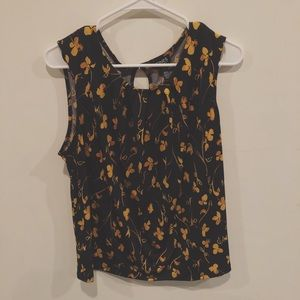 Jones New York yellow and black floral blouse